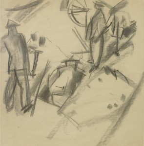 David Bomberg, Study for Quarrying, Palestine, 1923, Charcoal on Paper, 53 x 51 cms