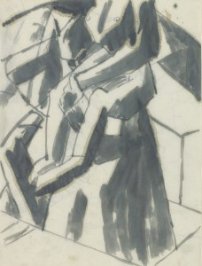 David Bomberg, The Players, 1919, Pen and Ink on paper, 26 x 20 cms