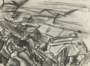 David Bomberg, Zionist Irrigation Development, 1923, Charcoal on Paper, 25 x 34 cms