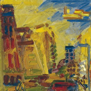 Frank Auerbach, Mornington Crescent, Summer Morning II,  2004, Oil on Board 51 x 51 cms (20 x 20 inches)