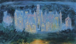 John Piper, Harlaxton Manor, 1977 Oil and mixed media on canvas 42 x 72 inches (106.8 x 183 cm)