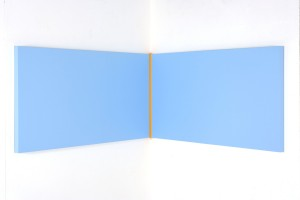 Yellow Volts (2010), Acrylic on Aluminium, 61 x 107 x 107 (right angle)