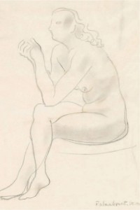 Nude Threading a Needle (1947), Pencil, 34.7 x 24.8cm
