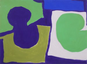 Patrick Heron, Sharp shapes-Greens and purples, 1966, Gouache, 22 x 30 inches