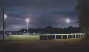 Richard Barrett, Baseball Field at Night, Oil on Canvas, 120 x 71 cms (47.25 x 27.75 inches)