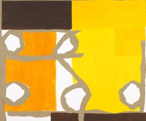 Sandra Blow Orange Yellow Connection 2005 Acrylic and hessian on canvas 59 x 71 inches (150 x 180 cm)
