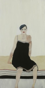 Anne Rothenstein, Black Slip, 2018, Oil on Wood, 37.5 inches x 19.5 inches
