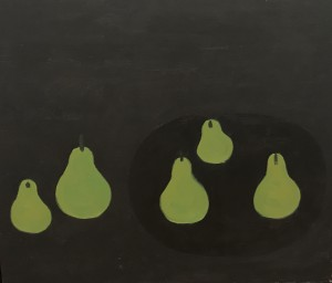 William Scott, Pears on a Black Plate, 1977, Oil on Canvas, H: 20 x 24 inches