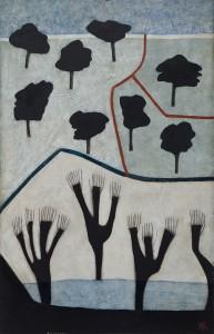 Black Trees (2014), Oil on Wood, 76.2 x 49.5cm