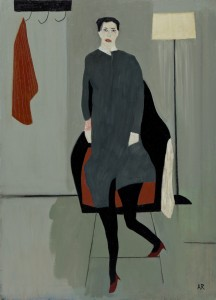 Figure, Lamp and Red Cloth (2015), Oil on Wood, 61 x 49.5cm