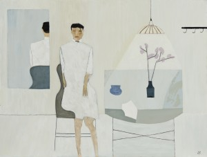 Seated Figure and Table (2015), Oil on Wood, 61 x 80.6cm