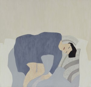 Striped Pillows (2015), Oil on Wood, 61 x 62.3cm