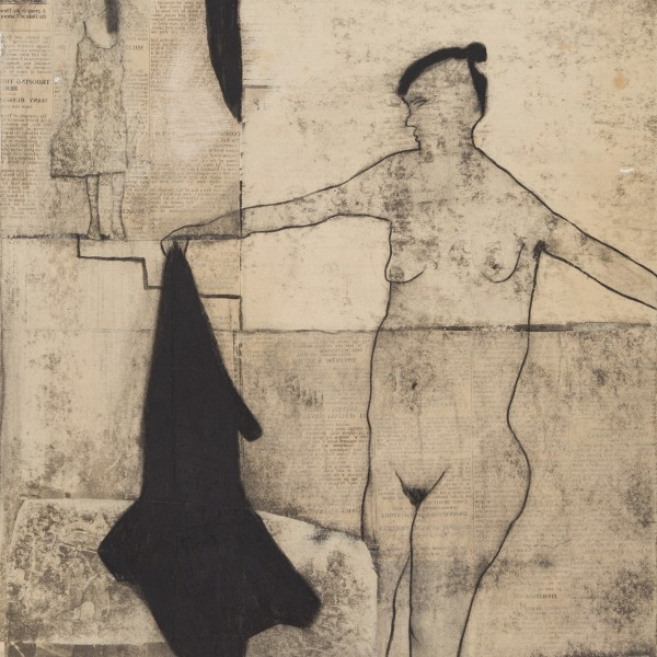 The Bather (2014), Paper and Graphite on Wood, 51 x 42cm