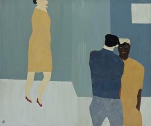 Three Figures I (2015), Oil on Wood, 46 x 54.6cm