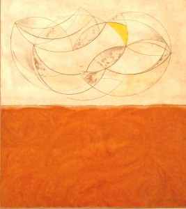 Curved Forms (1955), Oil and pencil on board, 43 x 48cm