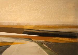 Ochre Triangle (2014), Oil on Board, 13 x 18cm