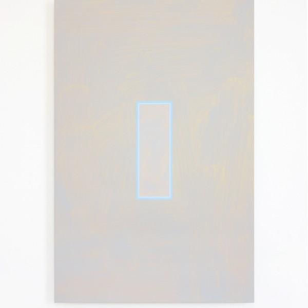 Light Cyan and Pale Brilliant Blue Volts (2014), Acrylic on Aluminium, 35 x 53cm