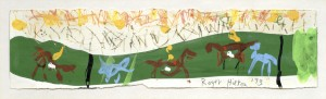 Horse and Riders (1973), Crayon and Gouache, 9.5 x 36cm