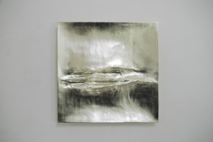 Atlantic I (2014), 12ct White Gold on Carved Wood, 85 x 85cm
