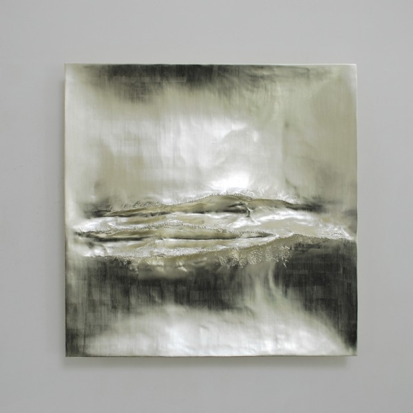Atlantic I (2014), 12ct White Gold on Carved Wood, 85 x 85cm