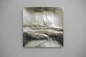 Atlantic II (2014), 12ct White Gold on Carved Wood, 85 x 85cm (33.5 x 33.5 inches)