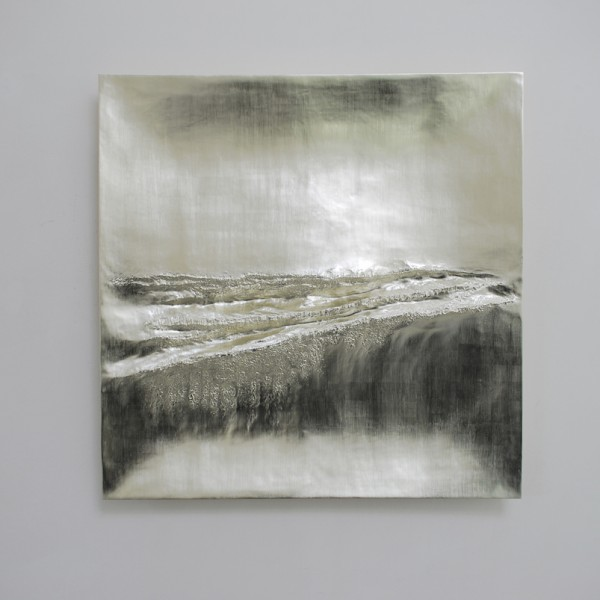 Atlantic IV (2014), 12ct White Gold on Carved Wood, 85 x 85cm