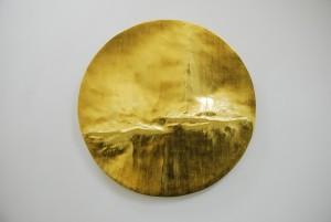 Cirrus I (2014), 22ct Gold Leaf on Carved Wood, 112cm