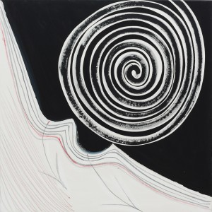 Black and White Spiral (2003), Acrylic on Canvas, 106.8 x 106.8cm