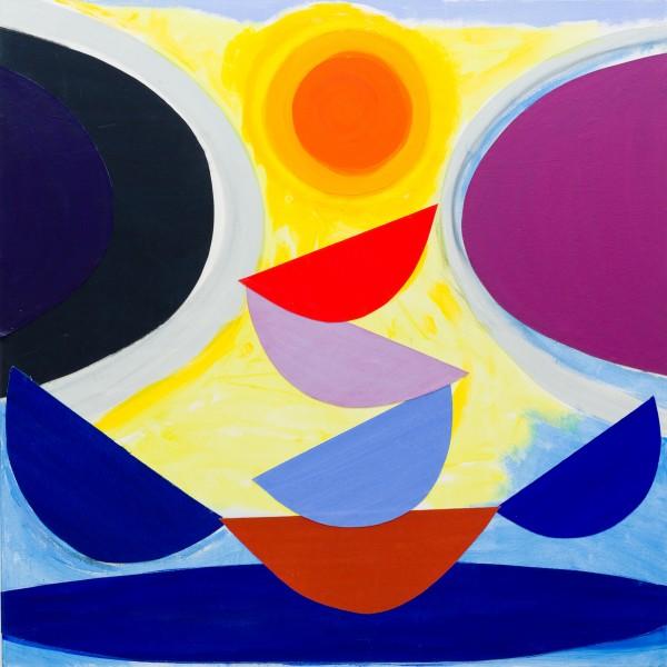 Slung Purple (c.1996), Acrylic and Collage Canvas, 152 x 152cm