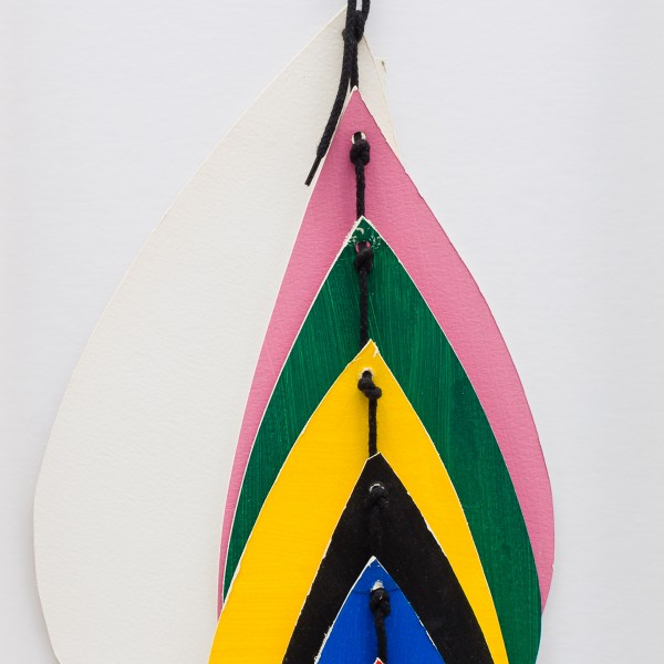 Untitled Hanging Form (Teardrop) (c.1992), Acrylic and Canvas on Card, 61 x 16cm