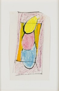 Untitled (Study 1) (c.1970), Oil Pastel and Ink on Paper, 25.5 x 15.2cm