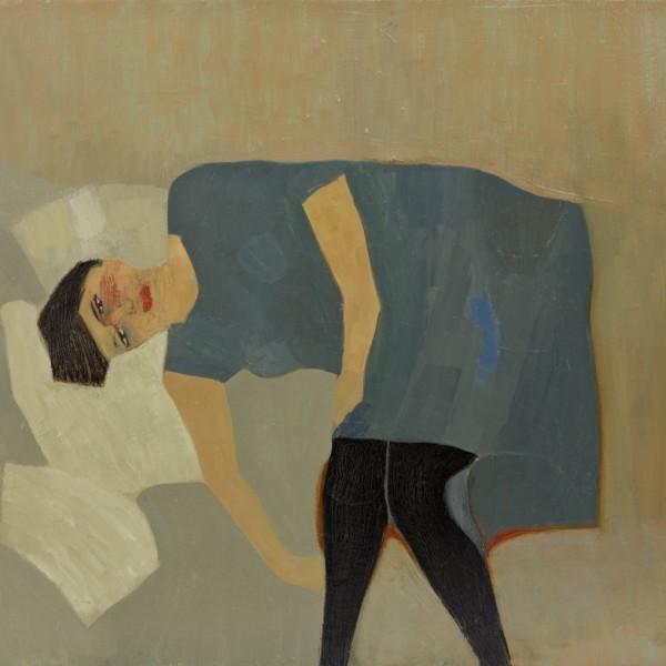 Blue Dress (2015), Oil on Wood, 50.8 x 61 cm