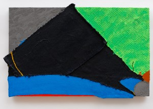Bat Chain Puller (2012), Acrylic and Pumice on Sacking, Rubber Net, Cloth, Sailcloth and Canvas, 30 x 48 inches