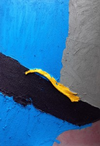 Blue Million Miles (2014), Acrylic and Pumice on Sailcloth, Hessian, Table Mats and Canvas, 39 x 28 inches