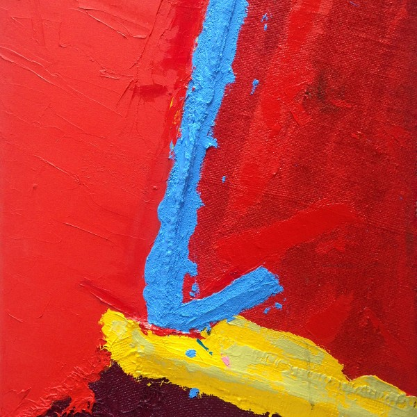 The Sound of Red (2014), Acrylic and Pumice on Sacking, Sail Cloth, Hessian Scrim and Canvas, 35.5 x 23.5 inches