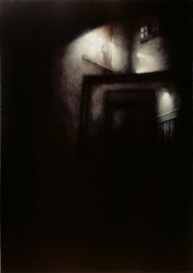 Film Still - Shadows & Fog (2005-06), Oil on Canvas, on Board, 40 x 28cm