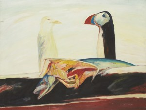 Puffin Fable (1974), Oil on Canvas, 48 x 63 inches