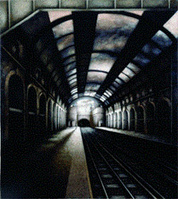 Notting Hill Gate Station, W11 (1998-2000), Oil on Board, 54.5 x 49 inches