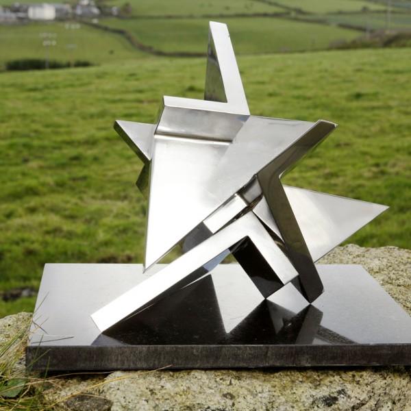 Tetrak (1975), Stainless Steel (Three Parts), Unique, H28 x W38cm
