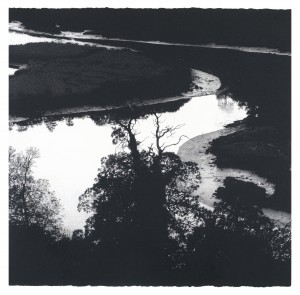 A Bend in the River (2014), Ink and Charcoal on 638gsm Paper, 101.5 x 101.5cm
