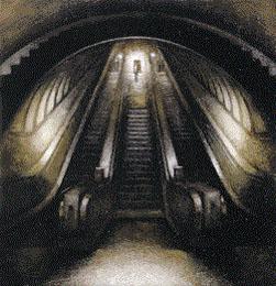 Paddington Escalator, W2 (1998-99), Oil on Board, 17 x 16.5 inches