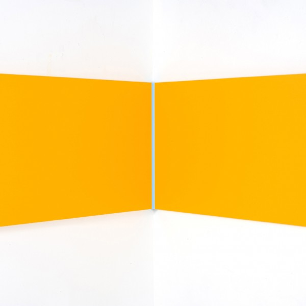 Pale Blue Volts (2010), Acrylic on Aluminium, 61 x 107 x 107cm (right angle)