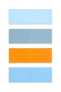 Supervolts, Cadmium Orange Series No.1 (2010), Acrylic on Canvas, 18 x 53cm (each), 90 x 53cm (display size)