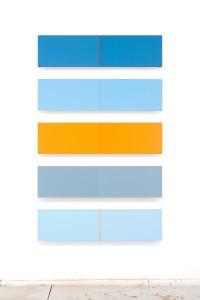 Supervolts No.5 (2010), Acrylic on Canvas, 30.5 x 122cm (each), 203 x 122cm (display size)