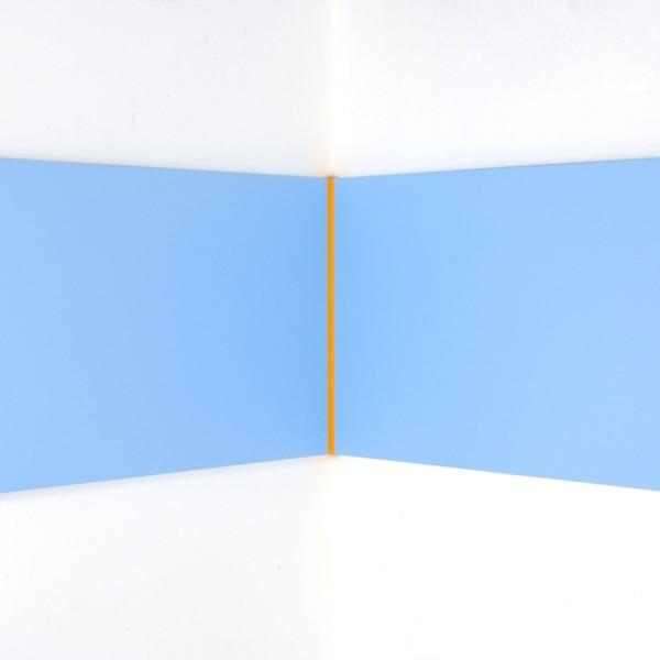 Yellow Volts (2010), Acrylic on Aluminium, 61 x 107 x 107 (right angle)