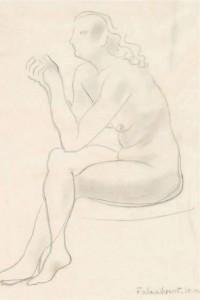 Nude Threading a Needle (1947), Pencil, 34.7 x 24.8cm