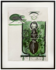 Graham-Sutherland-StagBeetle-ElectricLamp-Conte-ink-wash